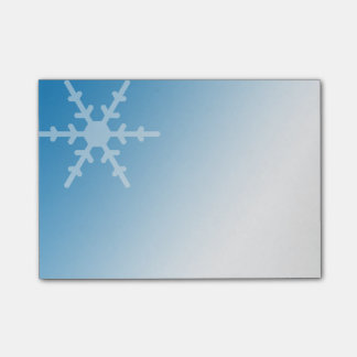 White Winter Snowflake on Gradient Blue Post-it® Notes