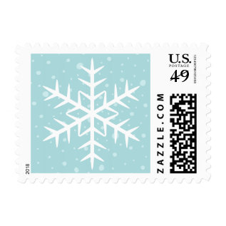 White Winter Snowflake Pale Aqua Christmas Holiday Postage at Zazzle