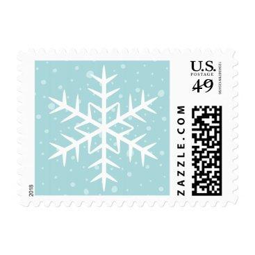 Christmas Themed White winter snowflake pale aqua Christmas Holiday Postage