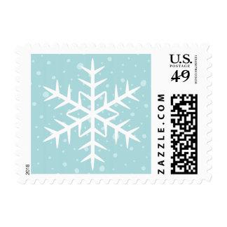 White winter snowflake pale aqua Christmas Holiday Stamp