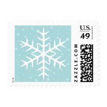 White winter snowflake pale aqua Christmas Holiday Stamps
