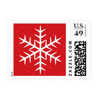 White Winter Snowflake Red Christmas Holiday Postage at Zazzle