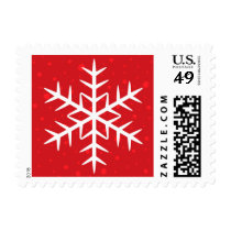 White winter snowflake red Christmas Holiday Postage Stamp