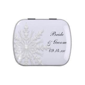 White Winter Snowflake Wedding Favor Candy Tin
