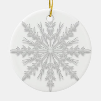 White Winter Snowflake Will You Be My Bridesmaid Double-Sided Ceramic Round Christmas Ornament