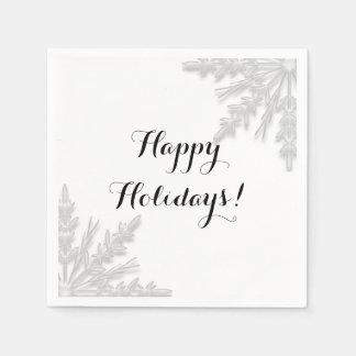 White Winter Snowflakes Happy Holidays Napkin