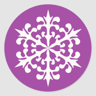 White Winter Snowflakes Ice Crystals Classic Round Sticker