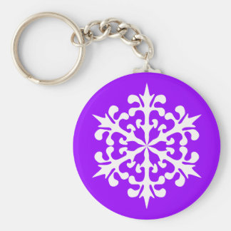 White Winter Snowflakes Ice Crystals Keychain