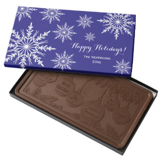 White Winter Snowflakes on Blue Happy Holidays Milk Chocolate Bar