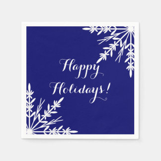 White Winter Snowflakes on Blue Happy Holidays Paper Napkin