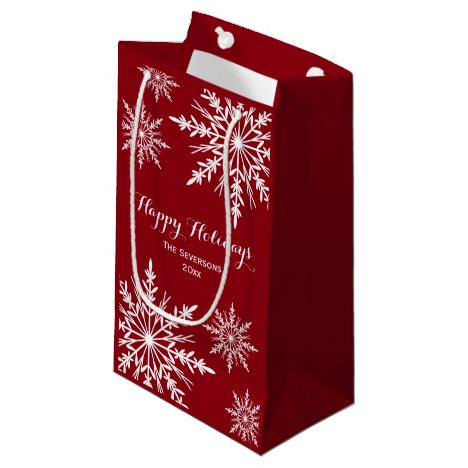White Winter Snowflakes on Red Happy Holidays Small Gift Bag