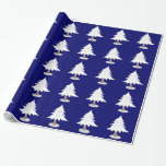 White Winter Tree on Blue Gift Wrap Paper