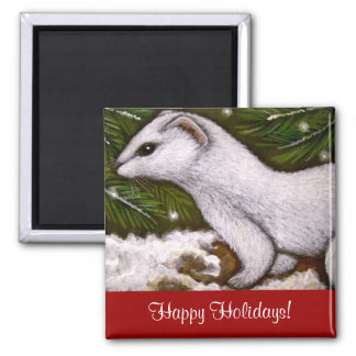 WHITE WINTER WEASEL HOLIDAY Magnet