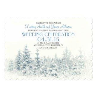 White winter wedding invitation