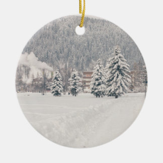 White Winter Wonderland Landscape Ceramic Ornament