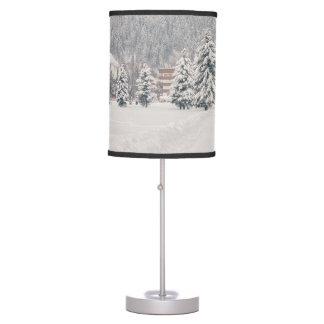 White Winter Wonderland Landscape Desk Lamp