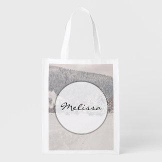 White Winter Wonderland Landscape Grocery Bag