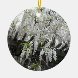 White Wisteria Double-Sided Ceramic Round Christmas Ornament
