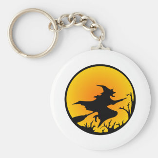 White Witch Broom Circle Moon Basic Round Button Keychain