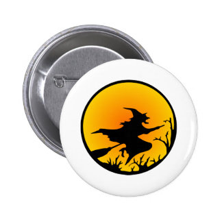 White Witch Broom Circle Moon Pinback Button