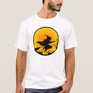 White Witch Broom Circle Moon T-Shirt