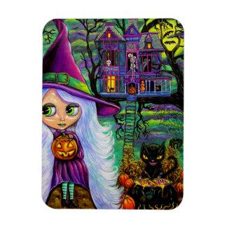 White Witch Haunted Tree House Black Cat Rectangular Photo Magnet