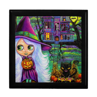 White Witch with Black Cat & Pumpkin Jewelry Box