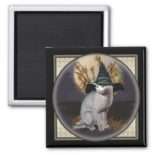 White Witches Cat Square Magnets