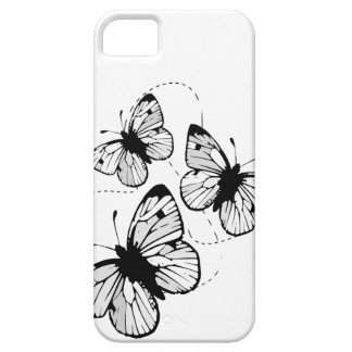White with  black butterflies iPhone 5 Case-Mat iPhone SE/5/5s Case