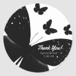Hand shaped White with Black Butterflies Party Custom Favor Classic Round Sticker