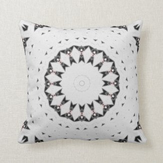 White with Black Geometric Texture Throw Pillow