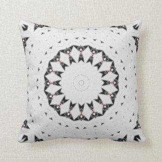 White with Black Geometric Texture Throw Pillow
