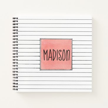 Aztec Themed White With Black Lines Peach And Name Notebook