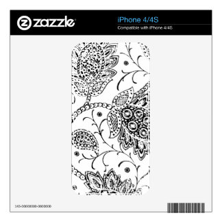 White with Black Paisley Toile Decal For The iPhone 4S