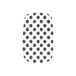 White With Black Polkadot Minx Nails Minx Nail Art