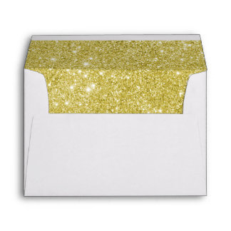 White with Gold Glitter Lined Envelope