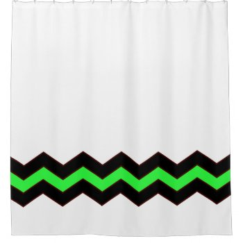 White with Green and Black Accent Shower Curtain