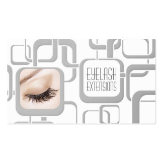 White With Grey Cubes Eyelash Extensions Card