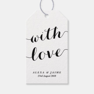 White With Love Cute Modern Calligraphy Wedding Gift Tags