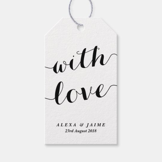 Modern Wedding Gifts: White With Love Cute Modern Calligraphy Wedding Gift Tags