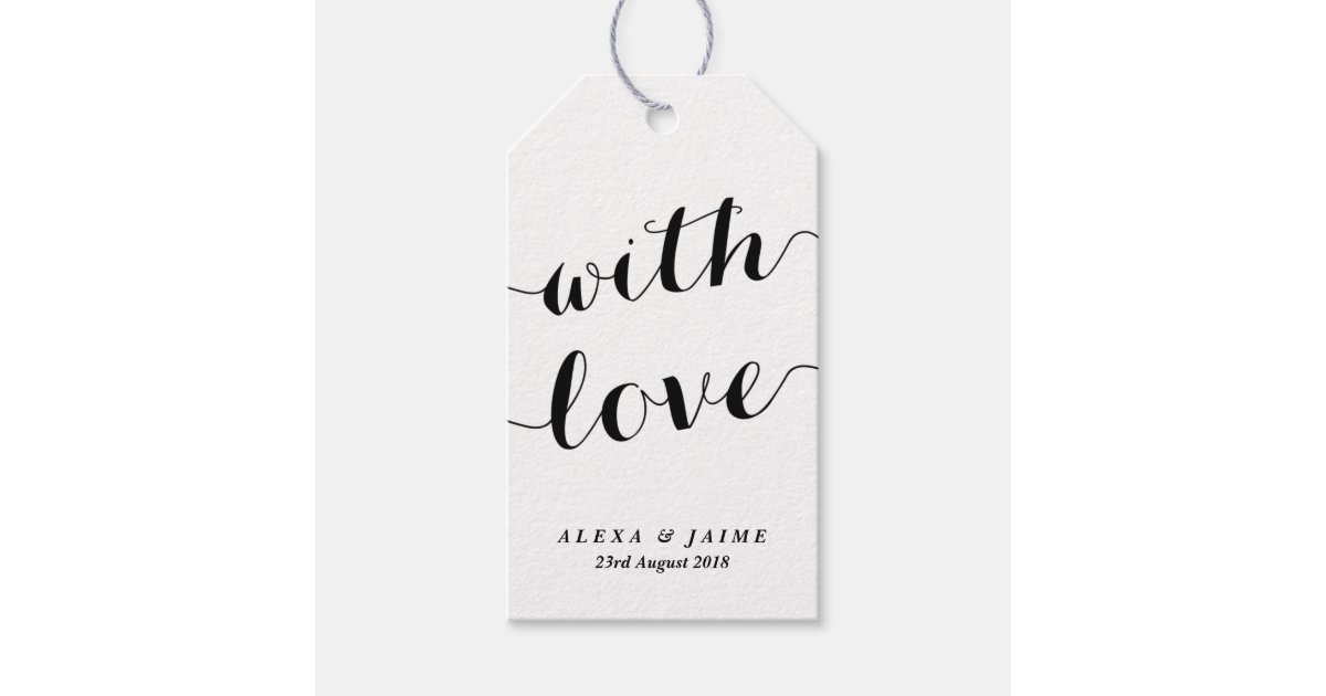 Innovative Wedding Gifts: White With Love Cute Modern Calligraphy Wedding Gift Tags