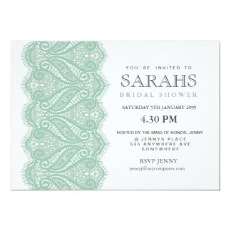 """White with Mint Lace Bridal Shower Party Invite 5"""" X 7"""" Invitation Card"""
