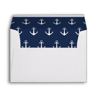 White with Nautical Anchor Lined Envelope