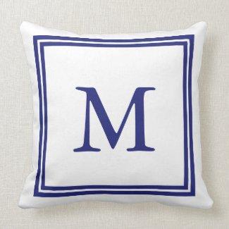 White with Nautical Blue Double Frame Monogram Throw Pillow