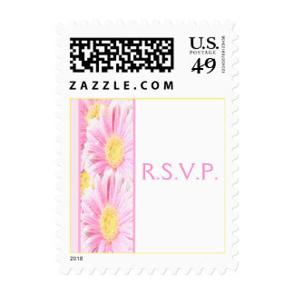 White with Pink Gerbera Daisy RSVP Postage