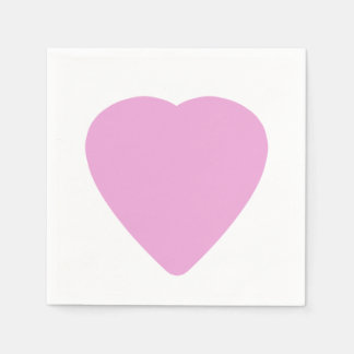 White With Pink Heart Valentine's Day Love Paper Napkin