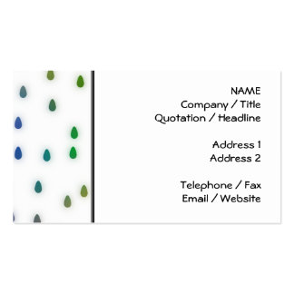 White with rainbow color rain drops. business card