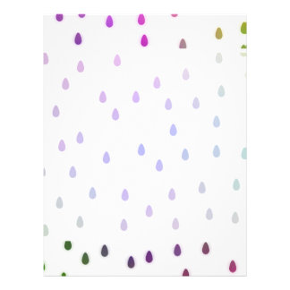 """White with rainbow color rain drops. 8.5"""" x 11"""" flyer"""
