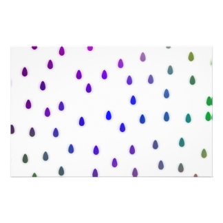 """White with rainbow color rain drops. 5.5"""" x 8.5"""" flyer"""