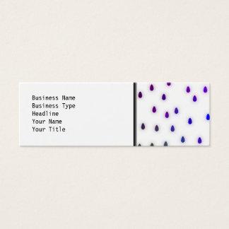 White with rainbow color rain drops. mini business card